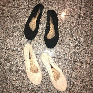 2 pairs of shoes black and cream